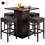 Best Choice Products 5-Piece Outdoor Wicker Bar Table Set for Patio, Poolside, Backyard w/Built-in Bottle Opener, Hidden Storage Shelf, Metal Tabletop, 4 Stools - Brown
