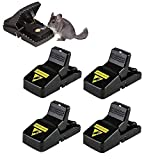 BOMPOW Mouse Traps Reusable Snap Mice Traps That Work Rodent Killer Easy to Bait, 4 Pack