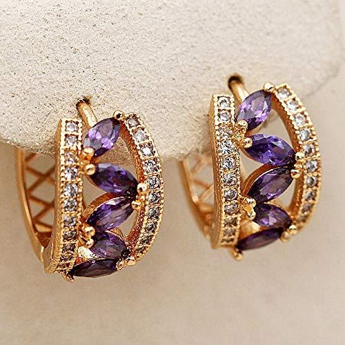ENDFF Pendientes de aro de lujo para mujer, pendientes de aro con circonita hueca y gota de agua, pendientes bohemios de oro (color metálico: morado)