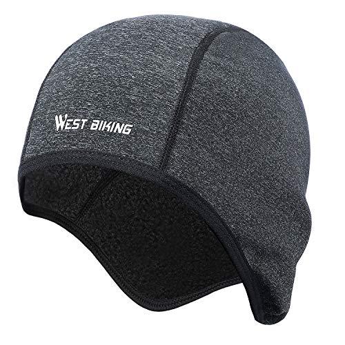 Fahrrad Mütze Caps für Herren Damen Helm-Unterziehmütze, Warm Winddichte Wintermütze, dehnbarer Kopfwärmer für Outdoor-Sportmütze Radfahren Laufen Motorradfahren Skifahren Snowboarden (Schwarz, Grau)