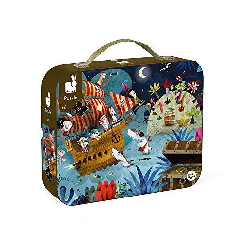 Janod piratas del caribe Maletín redondo: puzle en búsqueda del tesoro 36 pzas. (j02922), multicolor, piezas (JAN02922)