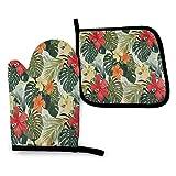 FJAR8 Juego de guantes de horno y soporte para ollas, 2 piezas, set de regalo de cocina hawaiana de verano tropical isla para cocina, hornear, barbacoa