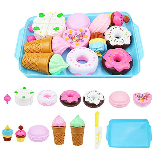 ELitao 15 PCS Pretend Play Food Set - Pretend Cutting Play Desserts Cake Ice Cream and Donuts Food Toys - Birthday Gifts Set Toy for Boys, Girls, Kids (Blue)