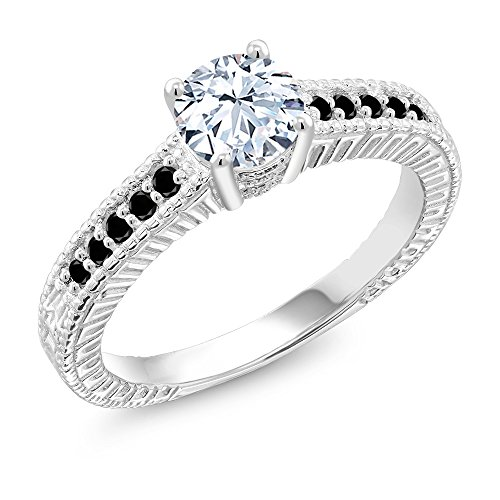Gem Stone King 925 Sterling Silver White Created Sapphire and Black Diamond Engagement Ring (1.37 Cttw, Available in size 5, 6, 7, 8, 9)