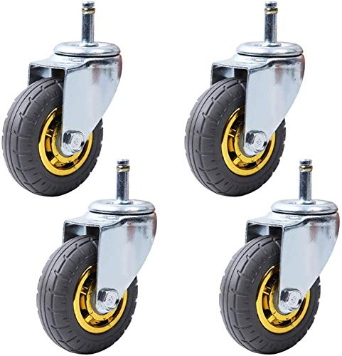 Ruedas de ruedas de movimiento móviles de 3 pulgadas Universal para muebles, ruedas de carro con goma, rodillos de transporte Comedor Coches Ruedas de reemplazo, STEM M11x35mm, Cargar 200 kg, conjunto