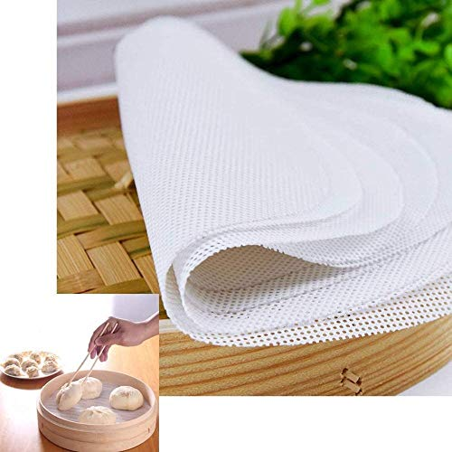 FANLIU Forma 5pcs Riutilizzabile Food Grade Silicone Steamer Liners Mesh Non -Stick Vapore Rotonda Baking Pastry Dim Sum Vapore Papers Bamboo Dumpling Mat (Size : 28cm)