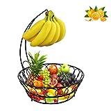 Piatto da frutta Vintage, Portafrutta da tavolo in filo metallico Supporto per ciotola con gancio per banana, Ciotola per cibo da banco Espositore per cesto di pane vegetale, Nero, Ciotola per cesto
