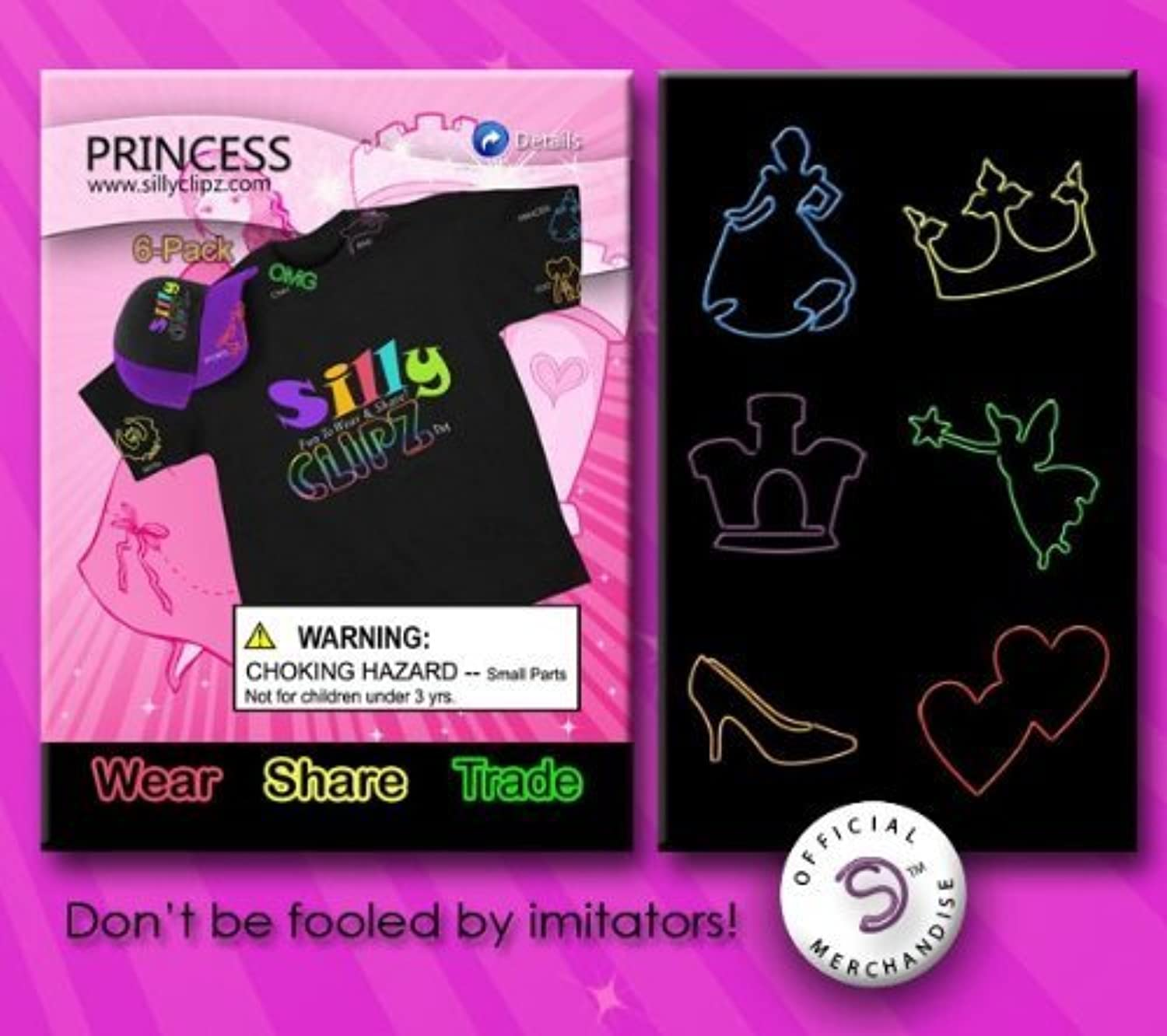 Silly Clipz  6 Pack colorful, Shaped, Wearable Paper Clips - PRINCESS
