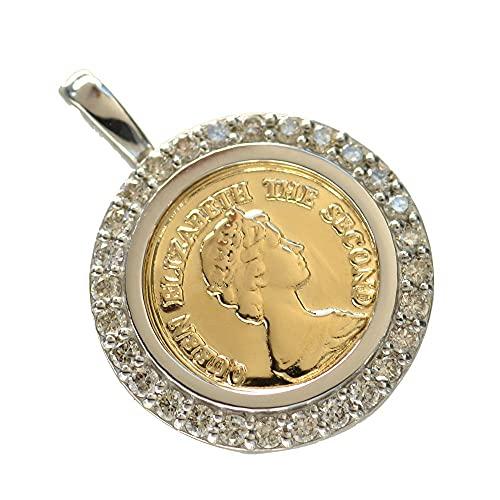 ペンダントトップ コイン 18金 プラチナ ダイヤモンド枠付き K18 Pt950 エリザベス 10mm 男女兼用 コインペンダント ヘッド 刻印入り