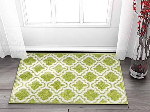 "Well Woven Small Rug Mat Doormat Modern Kids Room Rug Calipso Green 1'8"" x 2'7"" Lattice Trellis Accent Area Rug Entry Way Bright Carpet Bathroom Soft Durable"