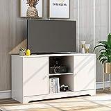 TETHYSUN TV Board, Weißer Modern TV Schrank TV-Ständer mit offenen Lagerregalen und 2 Lagerschränken, Medienkonsolentisch, 108 x 39 x 57cm