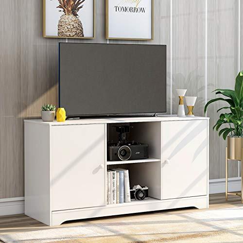SUFUBAI Mueble de madera para TV, centros de entretenimiento con 2 puertas y estantes para sala de estar o dormitorio