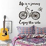 Inspiración Investigación Bicicleta Oficina Etiqueta de la Pared Cita Decoración del hogar Vinilo removible Cartel de la Bicicleta de Pared Negro 42x42cm