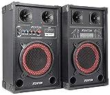 Skytec SPB-8 Pack Enceintes Amplifiées, Puissance maximale de 400 W, Haut-parleur BassReflex, Entrées USB et SD, Lecture MP3, Connexion Bluetooth, Entrée RCA, Poignées de transport