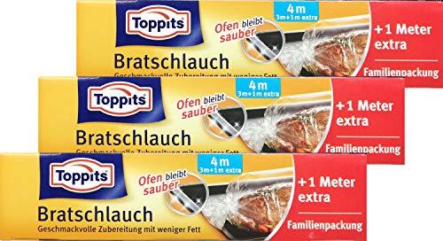 3x Toppits Bratschlauch 3+1 = 4m für geschmackvolle Zubereitung mit weniger Fett - der Ofen bleibt sauber