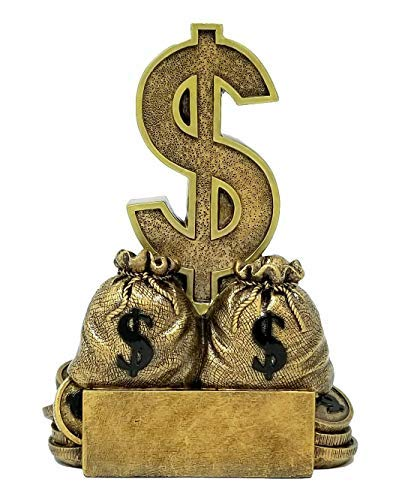 Dollar Sign Trophy - Sales or Fundraising Award - Gold Bag of Money Trophy - 6 Inch Tall - Engraved Plate on Request - Decade Awards