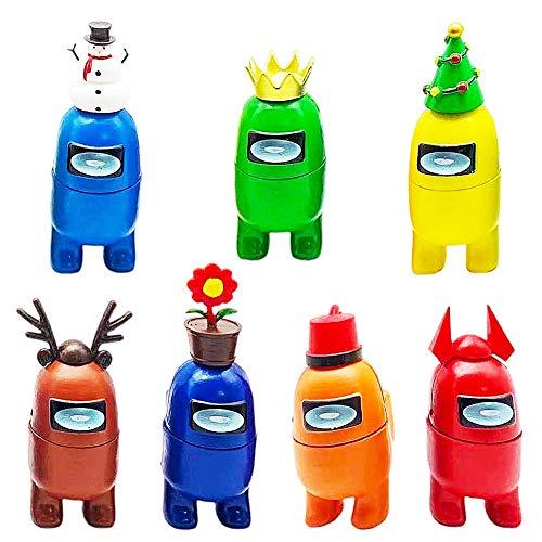 BESTZY Among Us Figuras en Miniatura 7PCS Among Us Figure Toy Entre Nosotros Juguetes Navidad DIY Figuras de Jardín Decoraciones Adornos de Mesa Escritorio Figuras de Juguete Lindas Colección