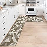"""DEXI Kitchen Rugs and Mats Non-Slip Absorbent Mats for Kitchen Floor, Entryway, Hallway and Dining Room, Machine Washable Kitchen Rugs Set, 20""""x32""""+20""""x71"""", Brown"""