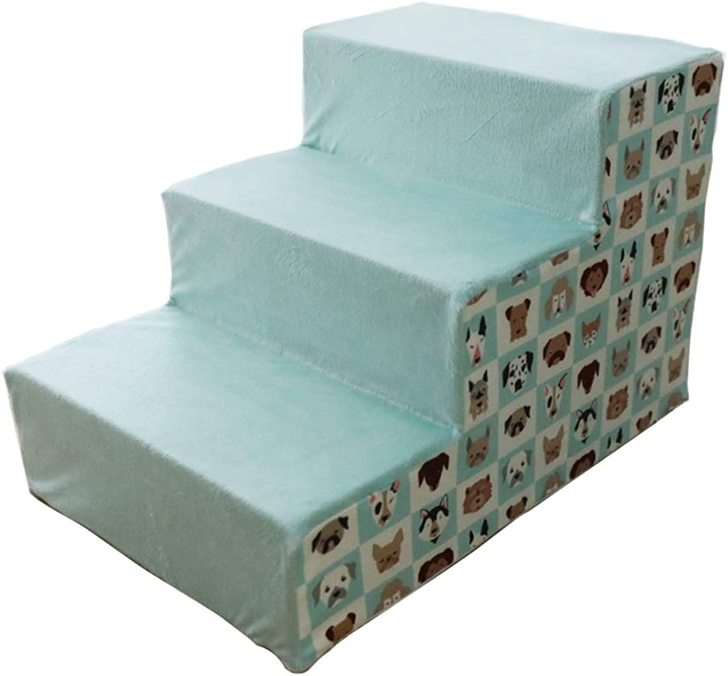 3Steps Pet Bed Ladder for Dogs and Cats, Short Plush Fabric High Density Sponge, 60×40×40cm(23.62×15.74×15.74in)