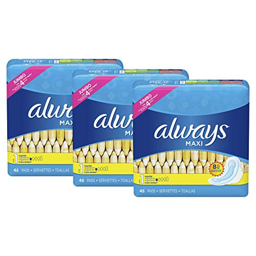 Always Maxi Feminine Pads with Wings for Women, Size 1, Regular Absorbency, Unscented, 45 Count - Pack of 3 (135 Count Total)