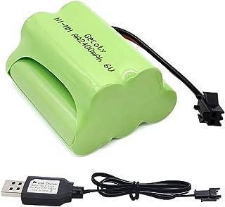 Gecoty® Paquete de baterías 6V NiMH, Batería AA Recargable de alta Capacidad con Cable de Carga USB, enchufe SM 2P para RC Stunt Car,Coche RC para niños,Q60 Q61 1/16 Military RC Truck SL01