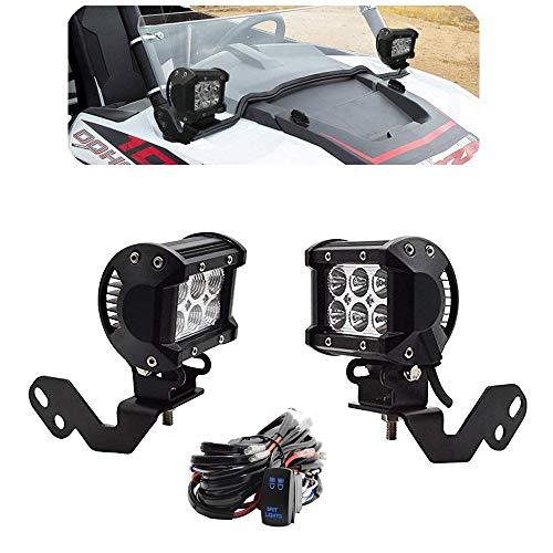 For Polaris RZR XP 1000 Below Roof Pillar Roll Bar Dual Mount Bracket+4x Lights