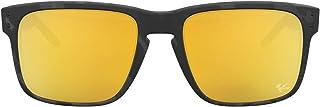 نظارة شمسية هولبروك مستقطبة بتصميم مستطيل، مع اطار مصقول باللون الاسود وعدسات رمادية للرجال من اوكلي، مقاس واحد