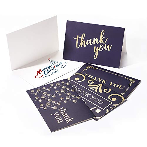 ACKO Thank You Cards Bulk 100 Pack Holiday Cards Greetings,Foil Gold Design Note Cards with Envelopes - Thank You Card Christmas Greeting Cards Holiday Cards Perfect for Wedding,Christmas,Graduation