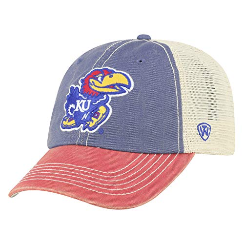 Top of the World Men's Relaxed Fit Adjustable Mesh Offroad Hat Team Color Icon, Kansas Jayhawks Royal, One Size
