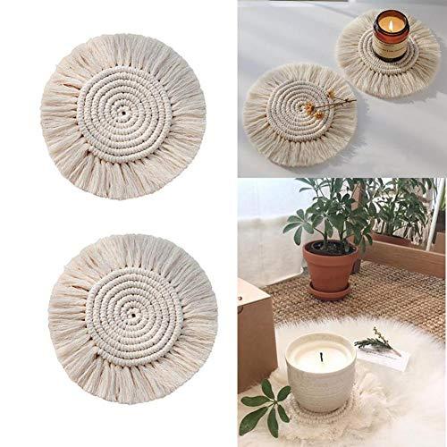 shewt EIN Paar handgemachte Makramee Untersetzer, geflochtene Tischsets aus Baumwollseilen, gewebte Dicke Tischauflage für Tassen und Becher, Tischdekoration, saugfähige, hitzebeständige Tischmatte