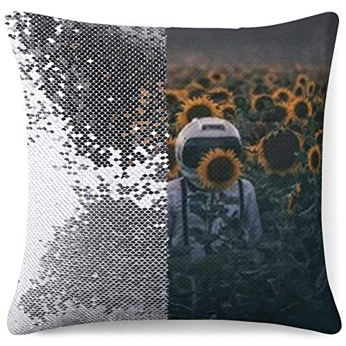 Sequin Pillow Cover Decorative Mermaid Throw Cushion Case Astronaut with Sunflower Silver Glitter Pillowcases Funny Gifts (16 in x 16 in) 40 cm x 40 cm