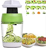 5 in 1 Handheld Spiralizer Vegetable Slicer, Spiral Cutter with Container, Carrot Cucumber Onion Zucchini Noodle Spaghetti Maker Spiral Slicer