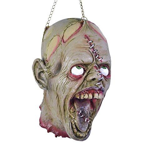 ctc21221212110 Abgetrennter Folter Kopf mit aufgerissenen Augen und Kette am Kopf Zum Aufhängen Mut blutigem Hals Stumpf Halloween Horror