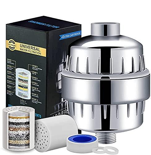 SeeKool 15 Strati Filtro Doccia Universale con 2 cartucce, Regolare il pH dell'acqua e Filtrare Cloro, Microbi e Metalli Pesanti per Proteggere i Capelli e la Pelle,alta pressione