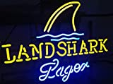 Urby LandShark Lager Real Glass Neon Light Sign Home Beer Bar Pub Recreation Room Game Room Windows Garage Wall Sign 18''x14'' A11-04