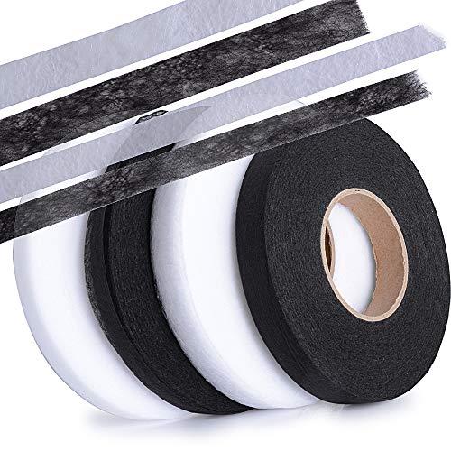4 rollos 280 Yardas Cinta de Dobladillo Adhesiva Planchar sin Coser Fusible Fusión de Tela para Ropa Manualidades Ancho 1cm, 1.5cm, 4 Rollos total, (Blanco*2 + Negro*2)