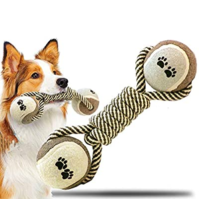 AnNido Squeaky Dog Toys Indestructible for Small/Medium Dogs, Puppy Teething Toy Bone with Ball and Natural Cotton Ropes, Aggressive Chew Toys for Boredom, Interactive Pet Toys Gift
