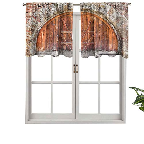 Indoor Privacy Window Valance Curtain Panel Vintage Historical Authentic Door with Rustic Elements Past Times Entr, Set of 1, 42'x18' for Sliding Patio Door/Dining