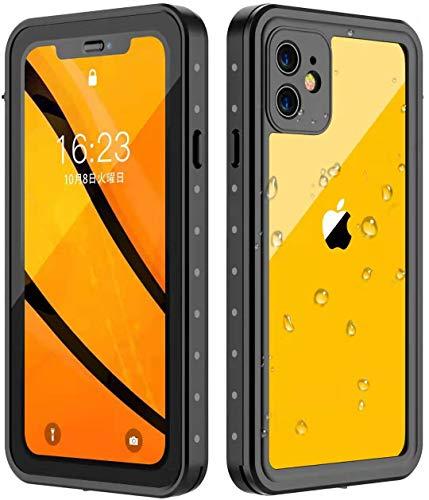 iPhone11防水ケースOterkiniPhone11ケースIP68防水等級耐衝撃360°保護超薄型QI充電・指紋認証対応防雪防塵ストラップ付き雨の日、お風呂など適用iPhone11専用(6.1インチ)