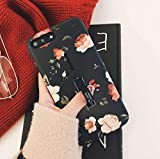 iPhone 7/8 Plus Case with Finger Grip,LMING 3D Embossed Flowers Design Rugged Shockproof Slim Fit Dual Layer Finger Ring Loop Strap Case with Finger Strap for iPhone 7/8 Plus(Red Flowers, 7+/8+)