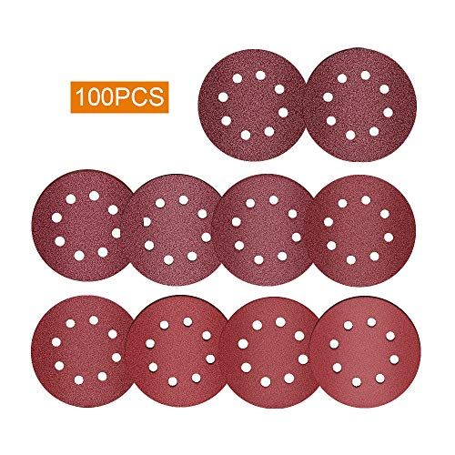 100 Stück Schleifscheiben 125mm Pads, craftsman168 Orbital Schleifscheiben, 5 Zoll 8 Löcher 40/60/80/100/120/180/240/320 / 400/800 Körnung Klett Schleifscheiben für zufällige Orbitalschleifer