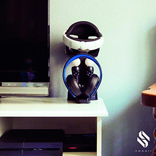 smaart® Playstation VR Ladestation | die perfekte Halterung für VR Brille 2 Dual Shock Controller 2 Move Controller | inkl. fast Connect Adapter und LED Anzeige für Ladestatus
