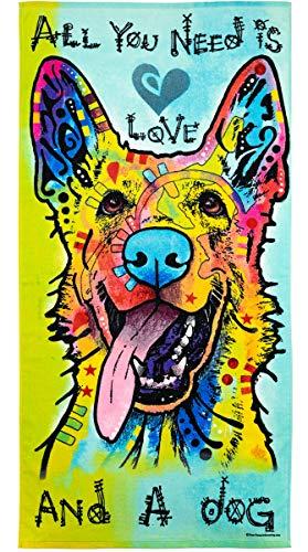Dean Russo Super Soft Plush Cotton Beach Bath Pool Towel (Love & a Dog German Shepherd)
