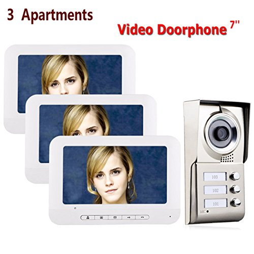 7inch LCD 3 Apartamentos Videoportero Sistema de intercomunicación IR-CUT HD 1000TVL Cámara Timbre Cámara con 3 botones 3 Monitor