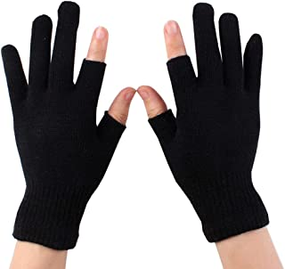 Luwint Touch Screen Thin Knit Gloves - Index Finger and Thumb Fingerless Mitten for Photography, Writing, Driving, Cycling(Black)
