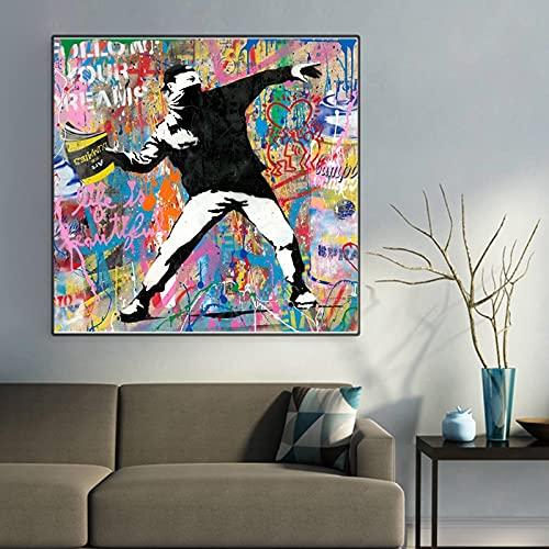 Fllow Your Dream Street Art Posters e impresiones de pared Graffiti Art Canvas Pinturas en la pared Art Picture Decoración del hogar 60x60 CM (sin marco)