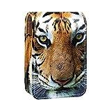 Bella tigre che sembra dritta Stampe Porta rossetto Mini porta rossetto Borsa organizer con specchio per borsetta Custodia cosmetica da viaggio
