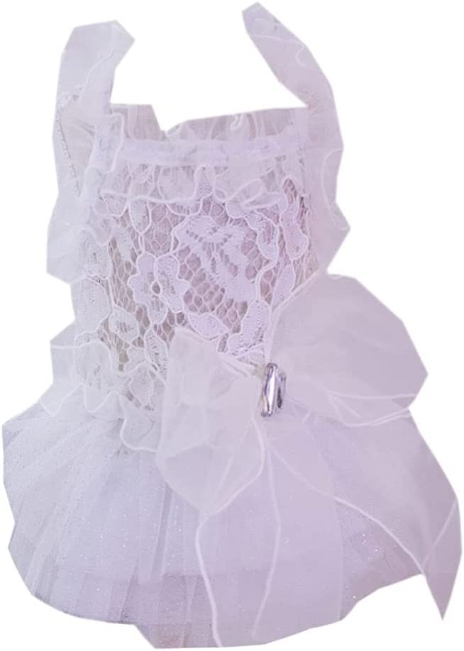 FEGOCLT Pet Charlotte Mall Dress Cats and Wedding Max 80% OFF D White Teddy Dog