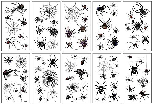 Temporary Tattoos - 10 sheets Halloween Spider Face Tattoos Spider Web Spider Net Temporary Tattoos - Face Shoulder Arm Back Tattoos Stickers