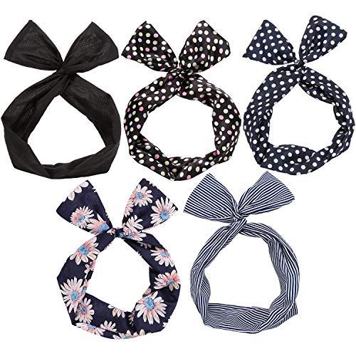 Twist Bow Wired Headbands Scarf Wrap Hair Accessory Hairband by Sea Team(5 Packs) by Sea Team